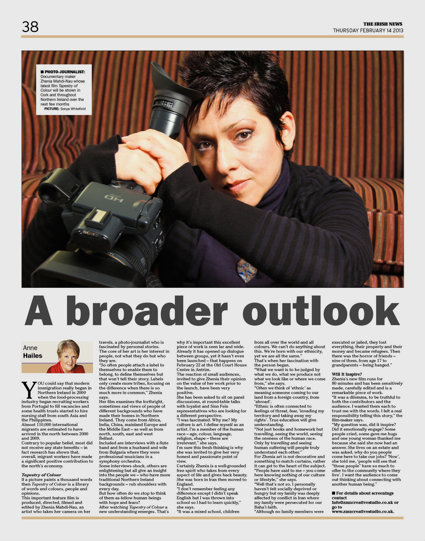 Full page feature in Irish News